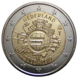 2_€_commemorativo_Paesi_Bassi_10º_anniversario_introduzione_dell'euro