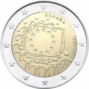 2_euro_commemorativo_Spagna_Bandiera_europea